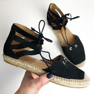 Kanna Black Ankle Strap Tie Up Espadrilles